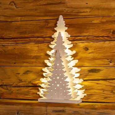 Albero triplo in legno h 35 cm, 20 led bianco caldo, batteria