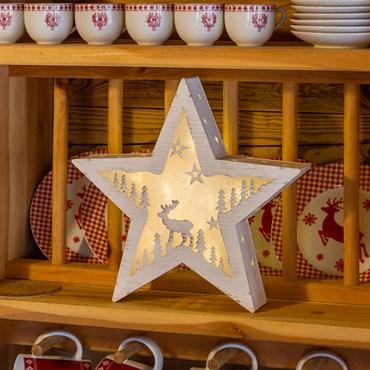 Estrella de madera con paisaje iluminado Ø 30cm