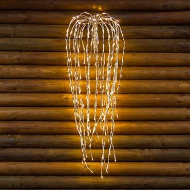 Branche de saule argentée, h 95 cm, 240 led blanc chaud, câble transparent