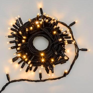 Guirnalda 10m, 96 Maxi Led blanco cálido, cable negro, prolongable