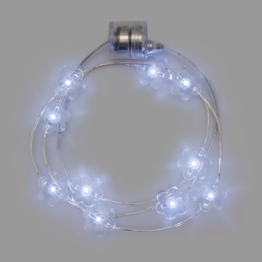 Collar luminoso a pilas Ø 20cm Flores Led blanco