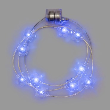 Collar luminoso a pilas Ø 20cm Flores Led azul
