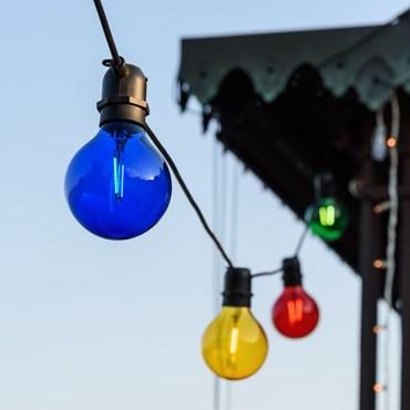 Guirlande Guinguette 8 m, 10 ampoules en verre colorées Ø 8 cm, E27, led blanc chaud, câble noir