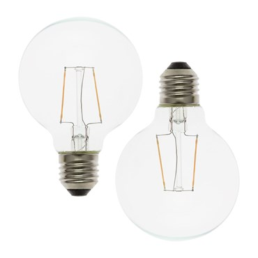 Serie VINTAGE LED 36V, Set 2 lampadine E27 di ricambio 36V, Ø 8 cm, led bianco caldo