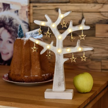 Albero bianco in legno opaco vintage, h 35 cm, 20 led bianco caldo, batteria