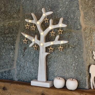 Albero bianco in legno opaco vintage, h 50 cm, 20 led bianco caldo, batteria