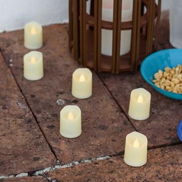 Lot de 6 bougies ivoire haute luminosité, h 4,5 cm, led blanc chaud