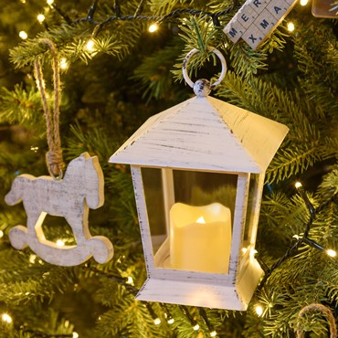Lanterna bianco antico con candela, h 17 cm, led bianco caldo