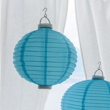 Ø 30 cm, 3 Warm White LEDs, Blu Party Tissu Lantern Lights