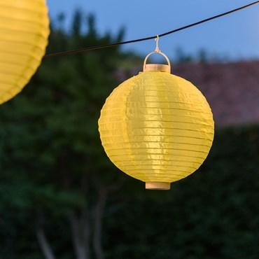 Lanterne lumineuse lampion en tissu plastifié jaune à pile, Ø 30 cm, 3 led blanc chaud
