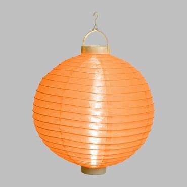 Orangener LED-Lampion Ø 30 cm, warmweißes Licht, batteriebetrieben