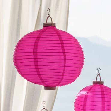 Ø 40 cm, 3 Warm Pink LEDs, White Party Tissu Lantern Lights