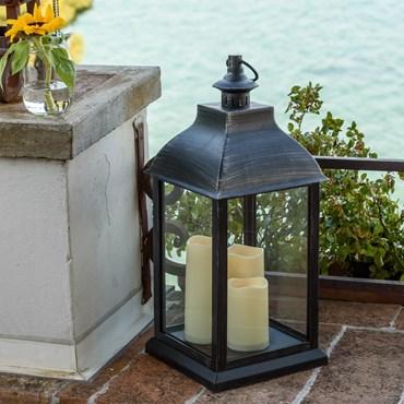 Laterne Antikschwarz viereckig h 54 cm mit 3 LED-Kerzen, warmweißes Licht, mit Timer