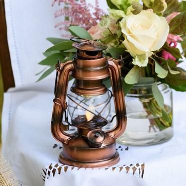 Kupferbraune LED-Laterne Old Style h 19 cm, bernsteinfarbenes Licht, batteriebetrieben
