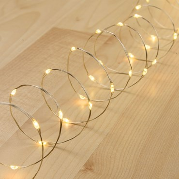 Lichterkette 20 m, 400 Micro LEDs warmweiß, silberner Metalldraht