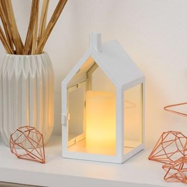 Weiße Haus-Laterne h 20 cm, LED-Kerze warmweiß