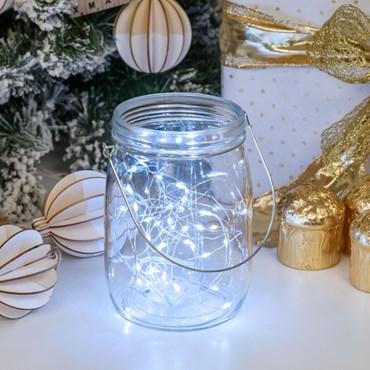 Tarro de cristal con luces Led blanco frío h. 15,5 cm