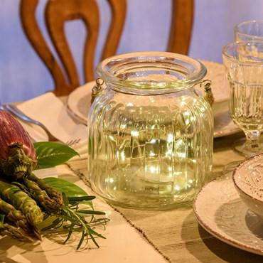 Vase en verre transparent avec fil de lumière Ø 15 x h 14,5 cm, 40 MicroLED blanc chaud à pile