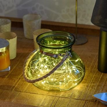 Vaso con luci in vetro verde Ø 15 x h 12,5 cm, 40 MicroLED bianco caldo a batteria