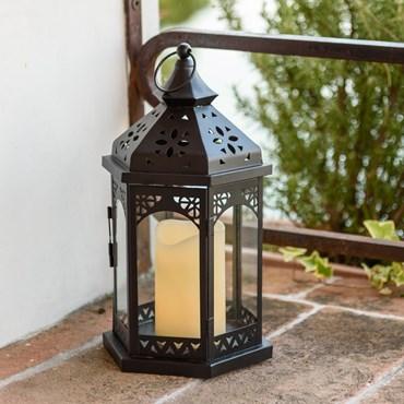 Sechskantige schwarze Laterne h 34 cm, LED-Kerze warmweiß