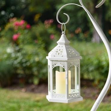 Lanterna in vetro e metallo bianco h 34 cm, con candela led bianco caldo