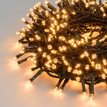 MiniCluster Lichterkette 10 m, 500 LEDs extra warmweiß, grünes Kabel