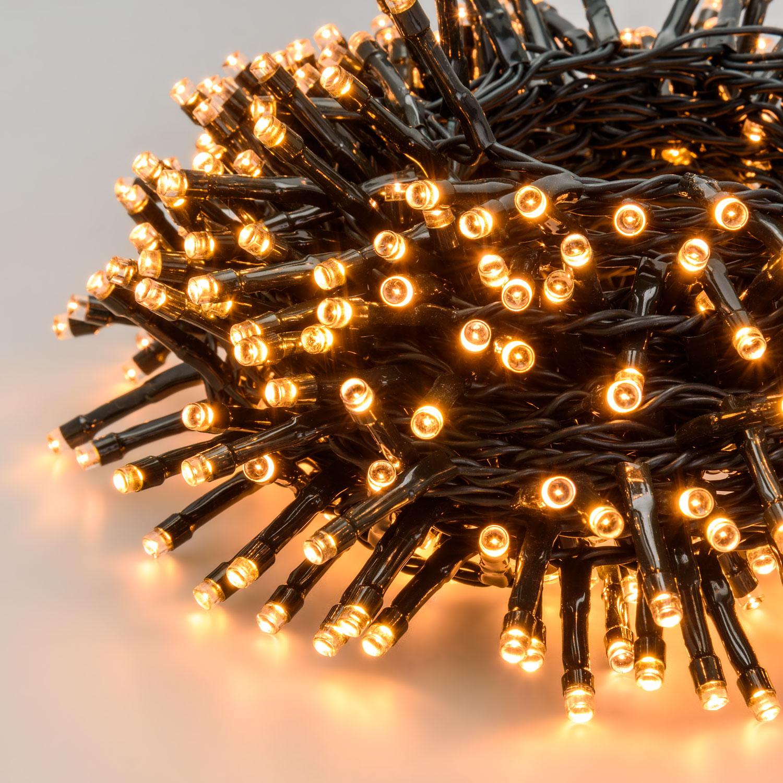 Guirlande lumineuse 400 DEL Blanc chaud transformateur Timer Vert Câble Extérieur de Noël DECO