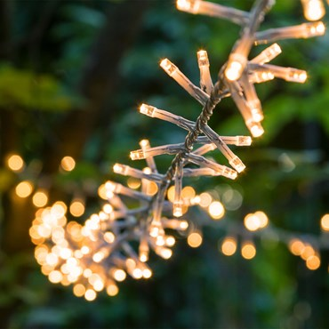 30.5m 1500 Traditional Warm White Led Mini Cluster String Lights, Clear Cable