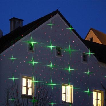 LASER-Projektor rot/grün, Punkte und Sterne, mit Lichtsensor