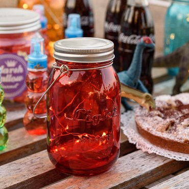 Fairy lights in red glass jar, h 15 cm, warm white MicroLEDs, battery