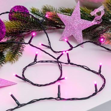 Lichterkette 25,5 m, 360 Mini LEDs pink, grünes Kabel
