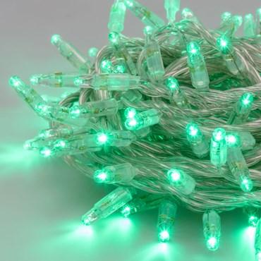 Guirlande lumineuse 10 m, 96 maxiled vert, câble transparent, prolongeable