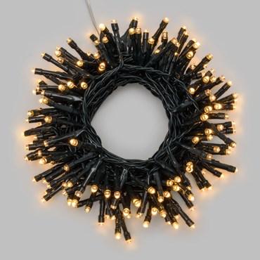 Lichterkette 7,2 m, 180 LEDs warmweiß, mit Timer, grünes Kabel, batteriebetrieben