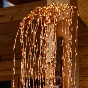 Branche de Saule couleur cuivre, h 2 m, 736 led blanc chaud traditionnel, câble transparent