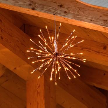 Kupferfarbener TWIGball, h 30 cm, 80 LEDs extra warmweiß