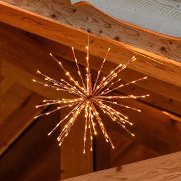 Kupferfarbener TWIGball, h 45 cm, 160 LEDs extra warmweiß