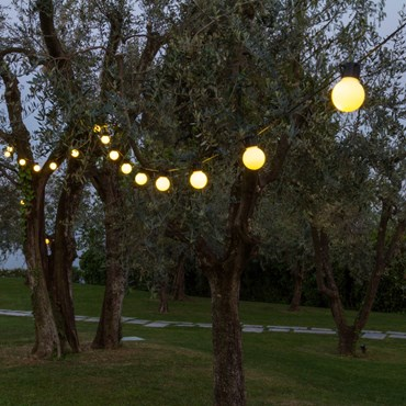 Catena Party light 10 m, 20 lampadine bianche Ø 50 mm, 20 led bianco caldo, cavo nero