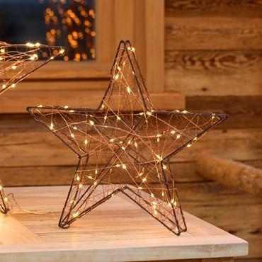 3D-Kupferstern Ø 40 cm, 80 Micro LEDs warmweiß
