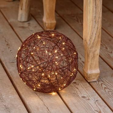 Sphère 3D en metal marron Ø 25 cm, 120 microled blanc chaud