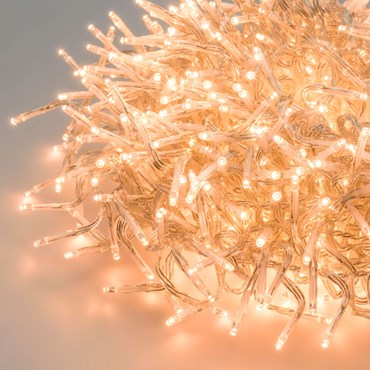 Cluster-Lichterkette 4,5 m, 450 Mini LEDs extra warmweiß, transparentes Kabel, innen