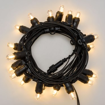 6m 20 Warm White E14 LED Bulbs Festoon Lights, Connectable, Without Power Cord, PML Series