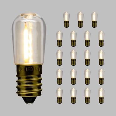 Lot de 20 ampoules en plastique pour guirlande compatible, Filament led blanc chaud E14, 12V
