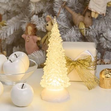 Sapin de Noël effet glaçé acrylique h 27 cm, led blanc chaud, à piles