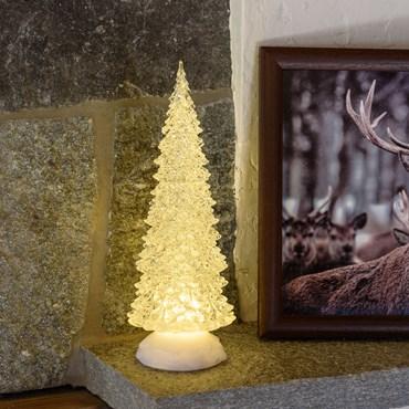 Weihnachtsbaum aus Acryl wasserbefüllt h 32 cm, LED warmweiß, batteriebetrieben