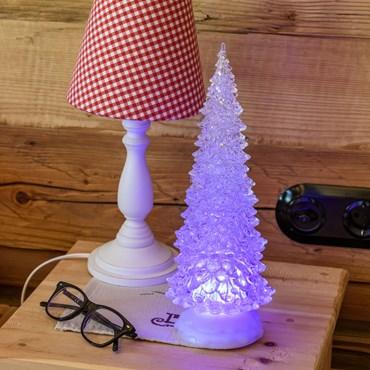 Sapin de Noël Acrylique effet Glaçé h 32 cm, led multicolore, à piles