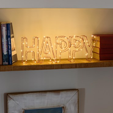 Letrero luminoso Led HAPPY 46 x h. 15cm