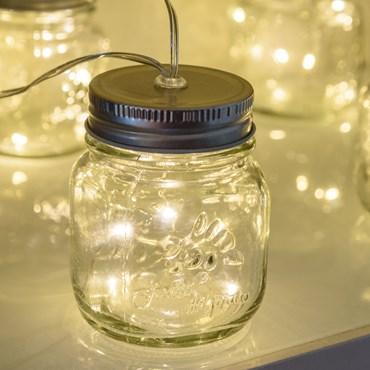 Lichterkette 1,5 m, 6 LED-Dekogläser warmweiß, transparentes Kabel, batteriebetrieben