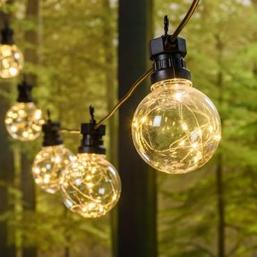 Catena Party 5 m, 10 lampadine Ø 80 mm con microled bianco caldo, cavo nero