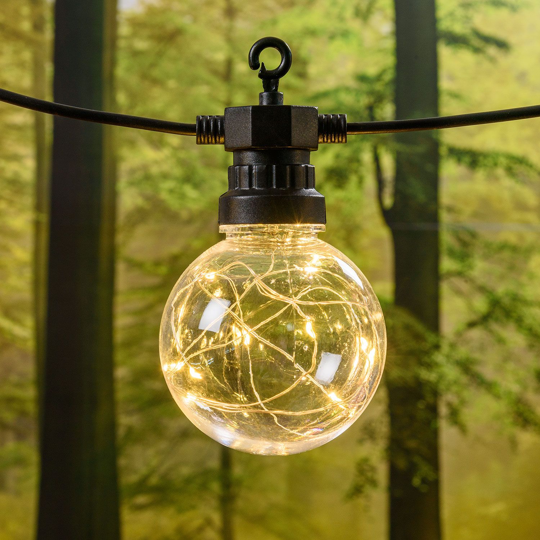 Party Dekolichterkette 5 m, 10 MicroLED Lampen Ø 80 mm