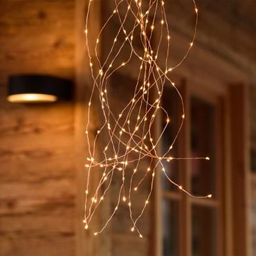 Cascata di luce 1 m, 15 fili di led, 300 microled bianco extra caldo, cavo metal rame